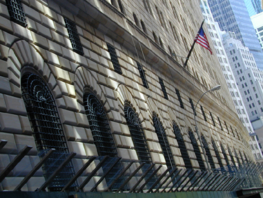 The main building of the Federal Reserve Bank of New York.