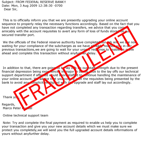 Scams Involving the Federal Reserve Name - FEDERAL RESERVE
