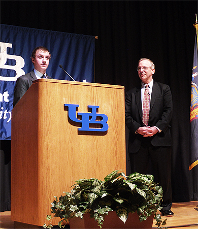 President Dudley addresses students at the University at Buffalo
