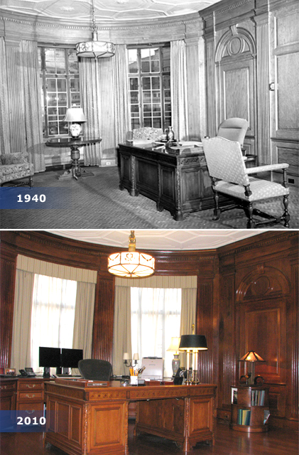Office of the President: In 1940, Bank President George Harrison occupied  this office.