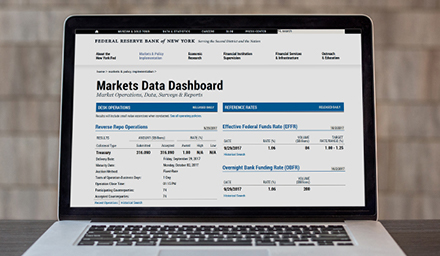 Photo of the Markets Data Dashboard on a laptop screen